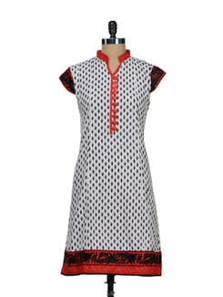 Rose Embroidered Printed Kurta - Vendee Lifestyle