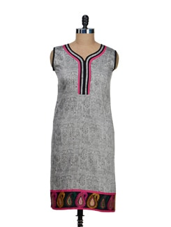 Ethnic Print Grey Kurti - Vendee Lifestyle