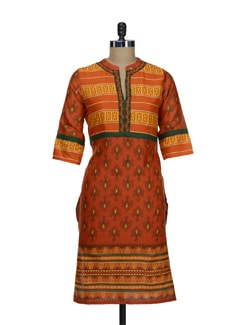 Vibrant Orange Printed Kurta - Tulsattva