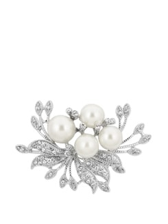 Pearl Embellished Crystal Brooch - Freddy's