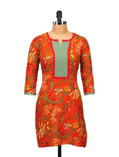 Bright Orange Printed Kurta - M MERI