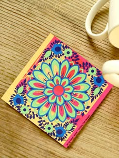 Multicolored Floral Coasters - Set Of 3 - Cutting Chai Designs