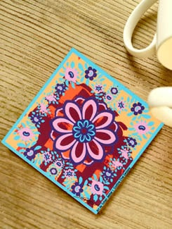 Colorful Floral Coasters - Set Of 3 - Cutting Chai Designs