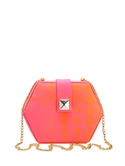 Orange & Pink Tie-Dye Hexagon Clutch - The Peacock Plume