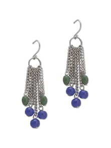 Silver Fringe Earrings With Colorful Beads - Trinketbag