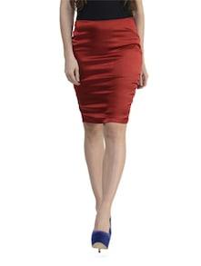 Maroon Back Lace Skirt - Schwof