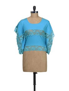 Blue Kaftan Top With Lace Details - Schwof