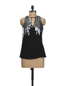 Black Tunic With Silver Embroidery - Schwof