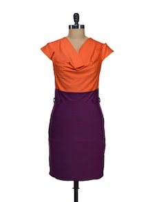 Purple And Orange Designer Dress - Schwof