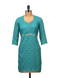 Ethnic Teal Blue Printed Kurta - RIYA