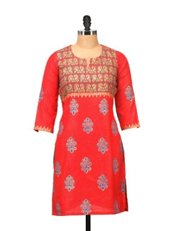 Elegant Orange Printed Kurta - RIYA