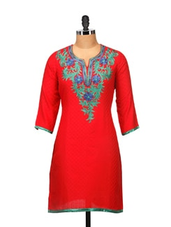 Elegant Red Embroidered Kurta - RIYA