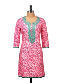 Stylish Pink Printed Kurta - RIYA