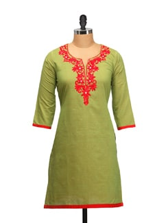 Green & Red Embroidered Kurta - RIYA