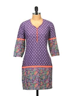 Elegant Purple Printed Kurta - RIYA