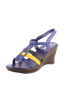 Stylish Black & Blue Wedges - Bonjour