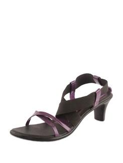 Purple & Black Strappy Sandals - Bonjour