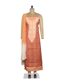 Elegant Peach-Maroon Embroidered Suit - Ada