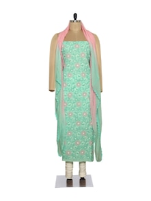 Aqua Green & Pink Embroidered Suit - Ada