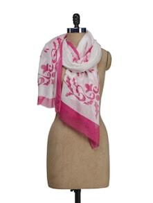 White & Pink Printed Scarf - HOS Designs