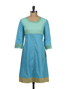 Turquoise Anarkali With Sea Green Yoke - Maandna