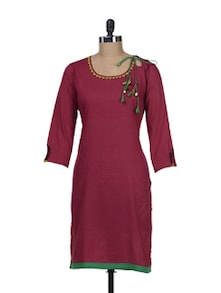 Maroon Kurta With Mirror Work Tassel Dori - Maandna