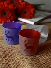 Reindeer Print Tea-light Holders- Set Of 3 - Ambbi Collections