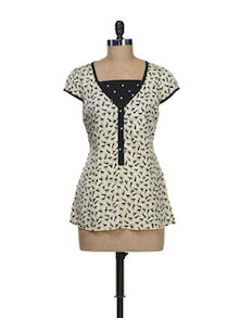 Black & White Horse Print Top - Ayaany