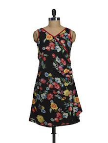 Black Floral Side Tucked Dress - Ayaany
