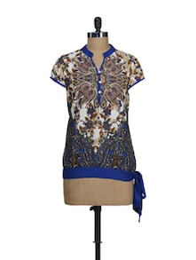 Printed Blue Top With Side Knot - Ayaany