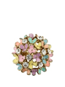 Multi-coloured Flowers Studded Ring - Fayon