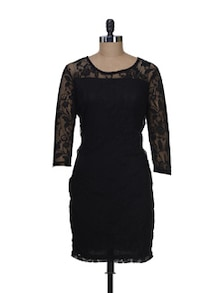Elegant Black Lace Dress - Color Cocktail