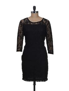 Elegant Black Lace Dress - Color Cocktail