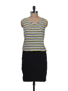 Yellow Striped Yoke Dress - Color Cocktail