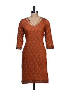 Ethnic Orange Printed Kurta - KYLA F