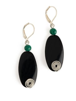 Black And Green Stone Earrings With Lever Style Clasp - Eesha Zaveri; Jewellery By Design