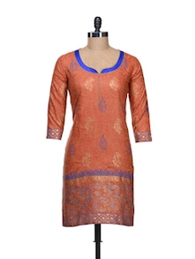 Elegant Orange Printed Kurta - KYLA F