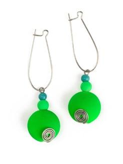 Neon Green Earrings With Kidney Style Hook Closure - Eesha Zaveri; Jewellery By Design