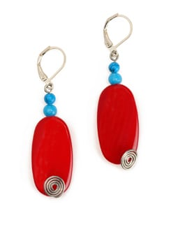 Red And Blue Stone Bead Earrings With Lever Style Clasp Closure. - Eesha Zaveri; Jewellery By Design