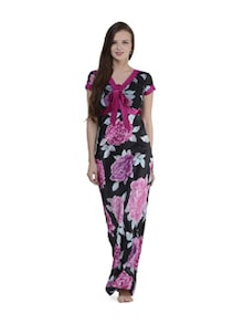 Black & Pink Floral Long Nighty - PRIVATELIVES