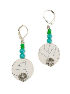 White Disk Earrings With Lever Style Clasp Closure - Eesha Zaveri; Jewellery By Design