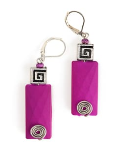 Purple Suede Bead Earring with Metal Bead Accent - Eesha Zaveri; Jewellery By Design