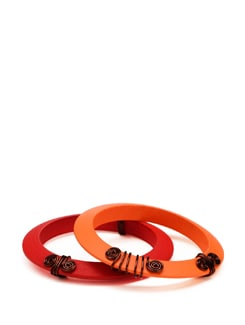 Red And Orange Copper Wire Wrapped Wooden Bangles - Eesha Zaveri; Jewellery By Design