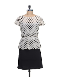 Polka Dotted Peplum Dress
