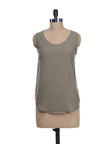 Sheer Brown Top With Back Lace Panel - I AM FOR YOU