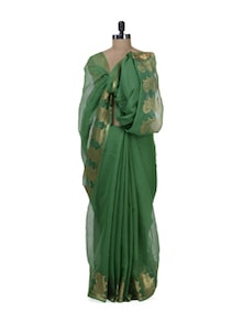 green fashionable kota doria saree with zari border - Bunkar