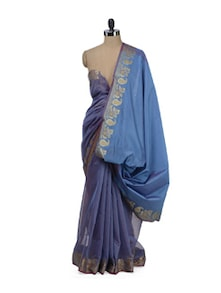 sky blue supernet banarasi saree with zari border - Bunkar