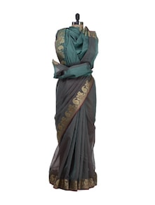 rama green supernet banarasi saree with zari border - Bunkar