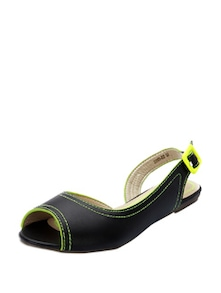 Black Peep Toes With Hint Of Neon Yellow - KNIGHT N GALE