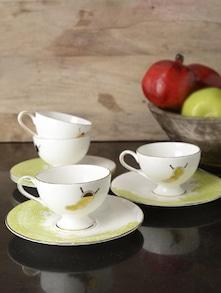 """Set Of Four""""Hungry Caterpillar""""Tea Cup &Saucer - Arttd'inox"""